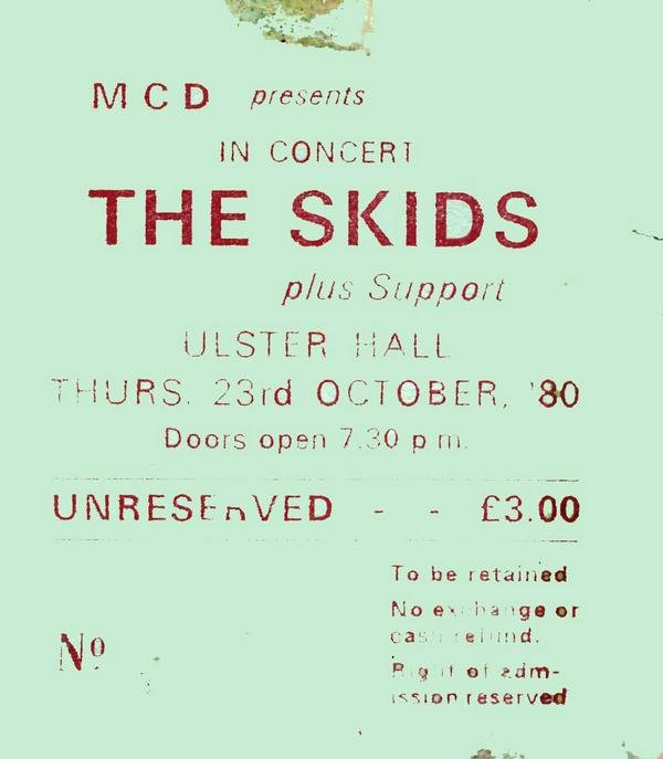 Skids ticket Ulster Hall